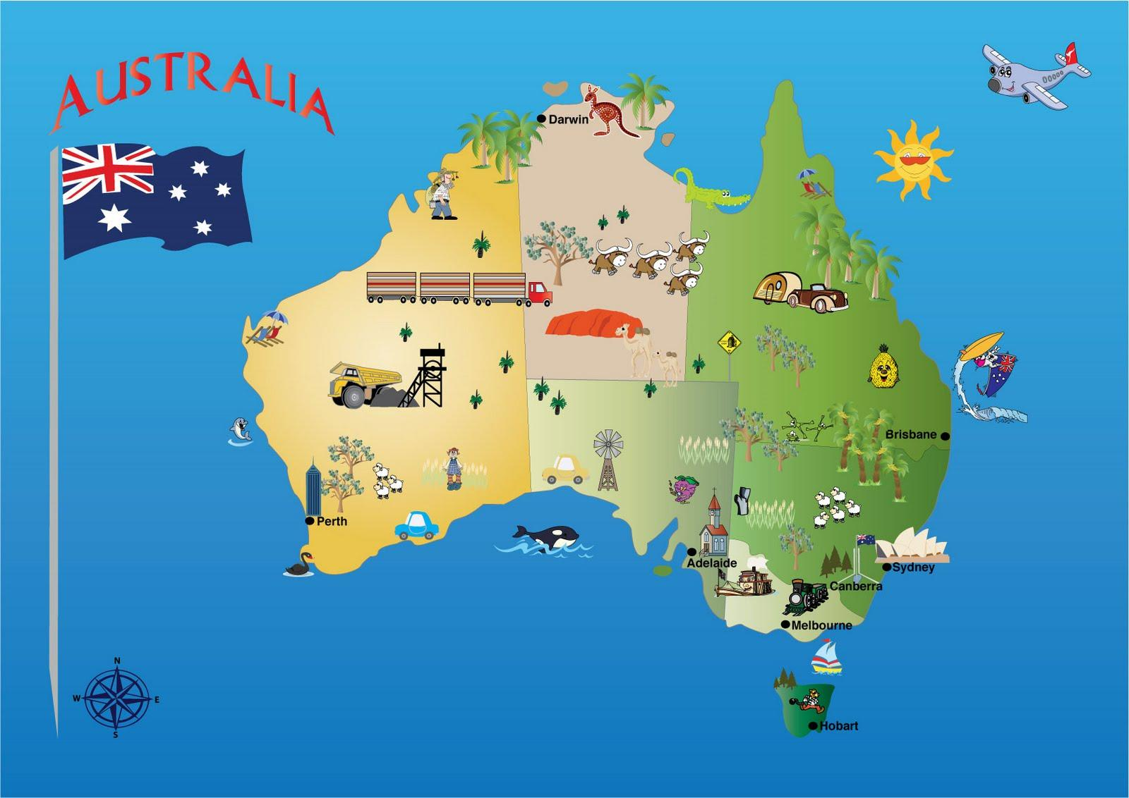 澳大利亚的旅游景点的地图-澳大利亚地图的旅游景点(澳大利亚和新西兰--大洋洲)